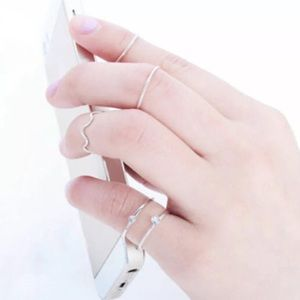 5pcs Silver Crystal Stacking Midi Rings